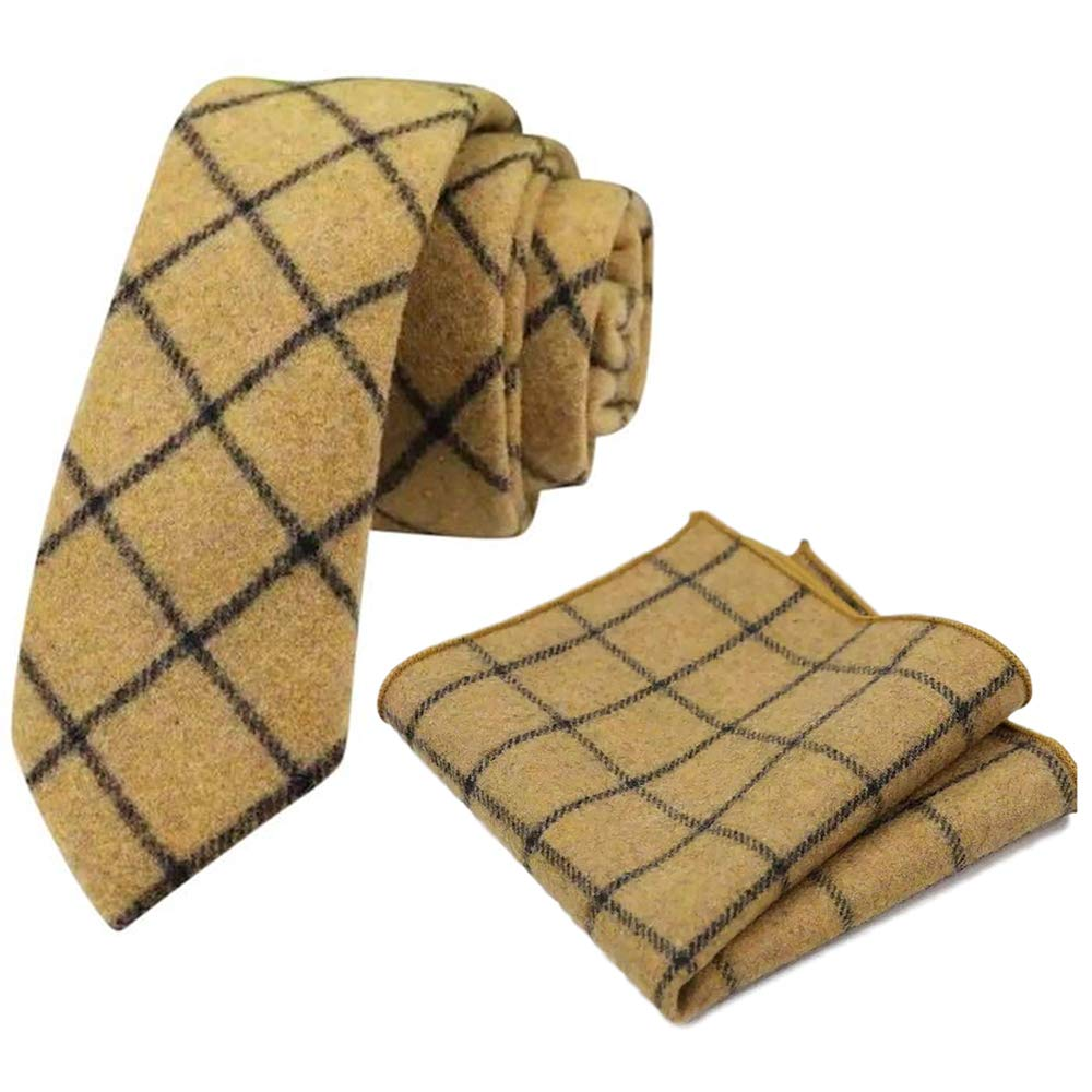 DB Dickie Bow Mustard - Juego de corbata y bolsillo cuadrado de ...