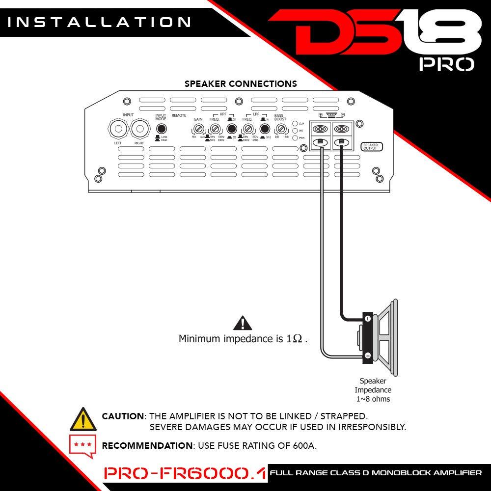 Amazon.com: DS18 PRO-FR6000.1 6000 Watts RMS Full Range Cl D ... on