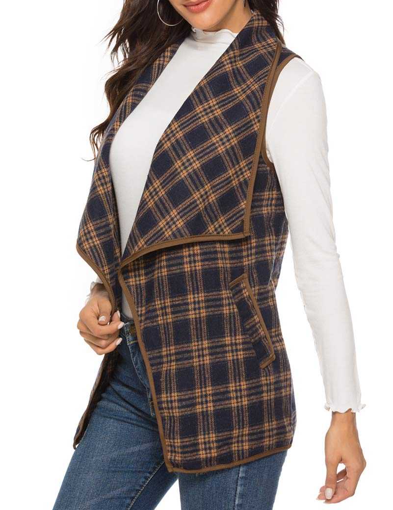 AIMICO Womens Vest Plaid Sleeveless Lapel Open Front Cardigan Sherpa Jacket with Pockets Navy Blue S by AIMICO