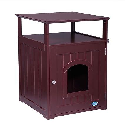 Amazon.com: LAZYMOON Wood Pet Washroom End Table Hidden Cabinet Cat Litter  Box Cover Brown: Pet Supplies