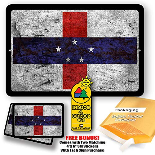 Netherlands Antilles Country Flag Man Cave Metal Decor Tin Sign Indoor and Outdoor use 8