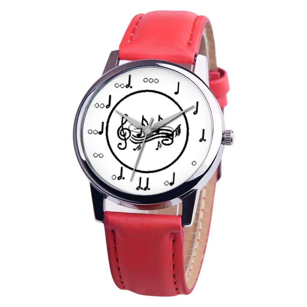 vmree Women Girls Music Series Leather Band Quartz Wrist Watch Musical Note Analog Couple Watch Ideal Gift (G)