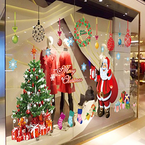 ORDERIN Christmas Gift Big Decal Merry Christmas Tree Santa Claus Decoration Removable Mural Wall Stickers Cupboard for Christmas Shop Room Decor French Words For Christmas