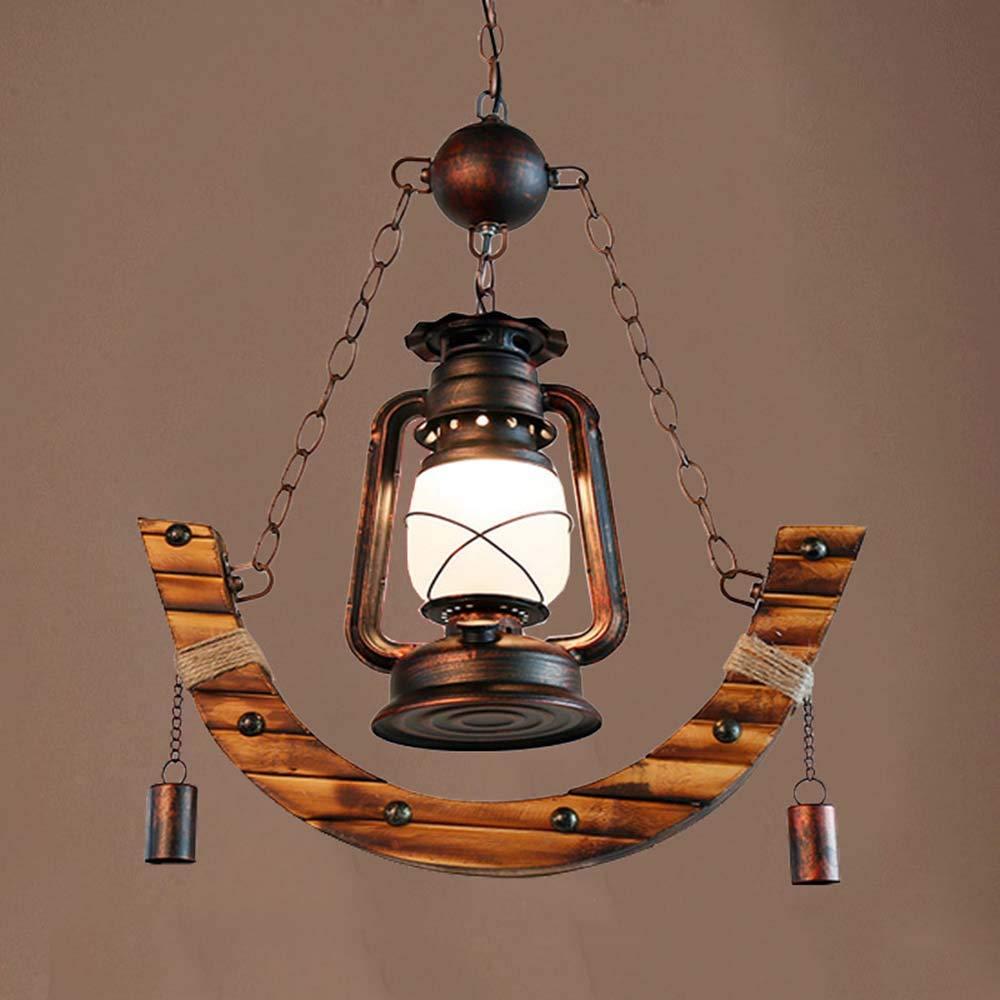 Chandelier European Style Rural Pendant Lights Features Kerosene Boat Wood Engineering Ceiling Lamp The Mediterranean Iron Adjustable Hanging Light for Bar Cafe Restaurant