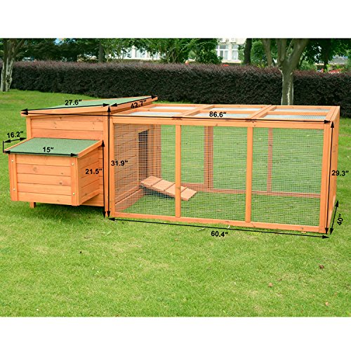 Pawhut Deluxe Wooden Chicken Coop with Backyard Outdoor Run, 87'' by PawHut (Image #2)