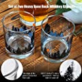 Whiskey Glasses Set of 2 Forest Landscape Old Fashioned Whiskey Tumbler for Scotch, Bourbon, Cocktails Heavy Base 11oz. for Men, Dad, Fathers Day Gifts Yurnero