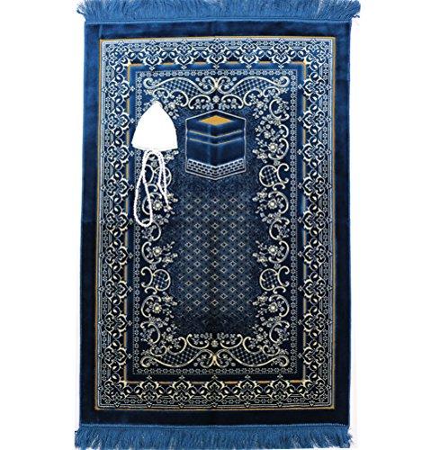 FREE Prayer Cap & Beads, Islamic Prayer Rug Janamaz - Plush Velvet BEST Quality Wide (Navy Blue)