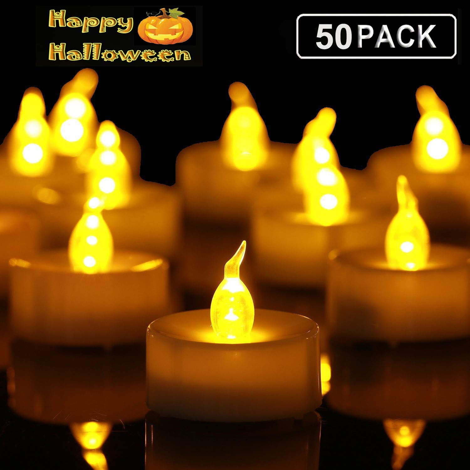 Tea Lights,50 Pack Flameless LED Tealight Candles,Realistic and Bright Flickering Led Bulb, Battery Operated LED Tea Lights Candles. Ideal for Parties, Weddings, Birthdays, Gifts and Home. by Anziner