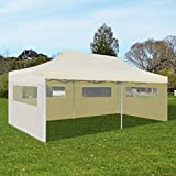 SKB Family Cream Foldable Pop-up Party Tent 10' x 20' Outdoor Waterproof Shelter
