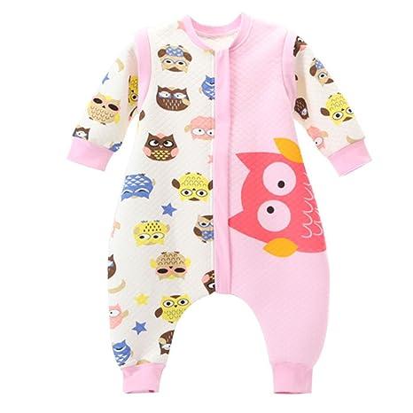 Bebé Saco de dormir Con Cremallera Piernas Separadas Mangas Extraíbles 1.5 Tog,Búho Rosa XL