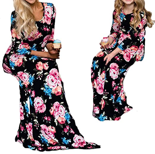 4354613e6366 Amazon.com  Mother Daughter Matching Women Girl Floral Printed Long ...