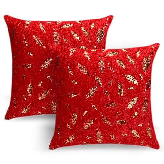 JOTOM Funda de Almohada de Piel de Felpa de Plumas para Cama Sofá Funda de cojín Fundas de Colchón Casa Decorativa 40X40 cm,Juego de 2 (Rojo)