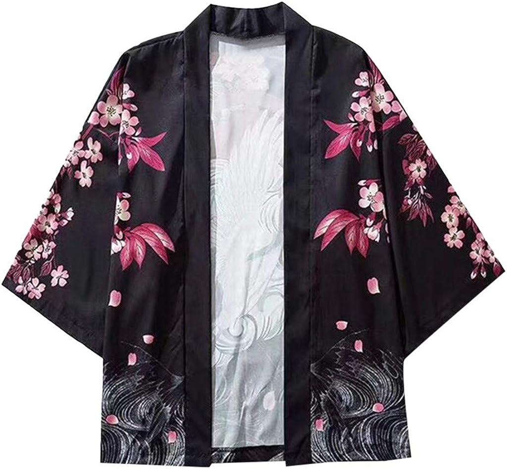 Summer Men/'s Cardigan Coat Retro Japanese Style 3//4 Sleeve Loose Chinese Style
