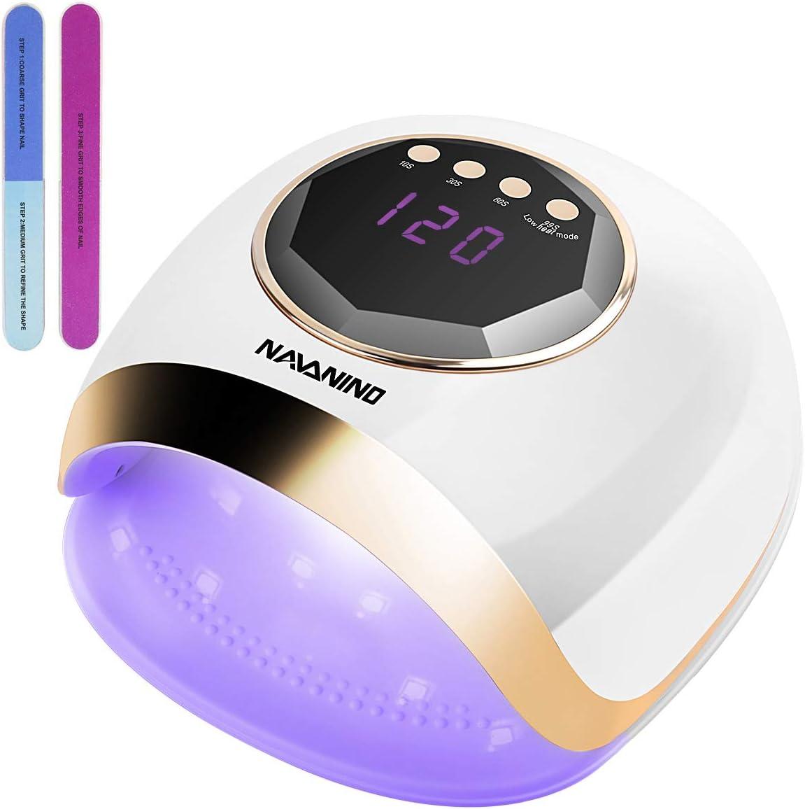 Lámpara Secador de Uñas, NAVANINO LED/UV Gel Esmalte de Uñas Curado Luz Máquina, 4 Modos con Sensor Automático y Pantalla LCD Para Manicura/Pedicure Nail Art en el Hogar y el Salón, 54W