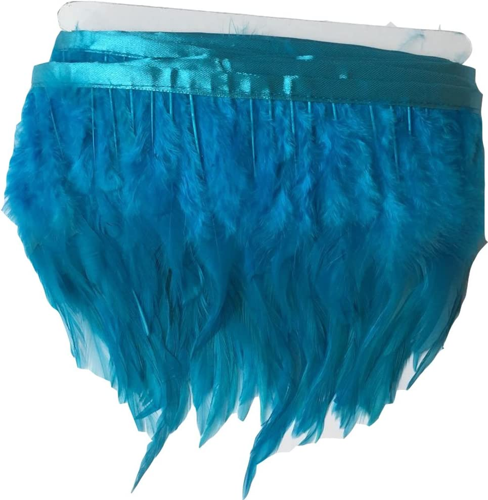 KOLIGHT Pack of 2 Yards Natural Rooster Hackle Feather Trim Fringe 4-6 in Width DIY Decoration Blue