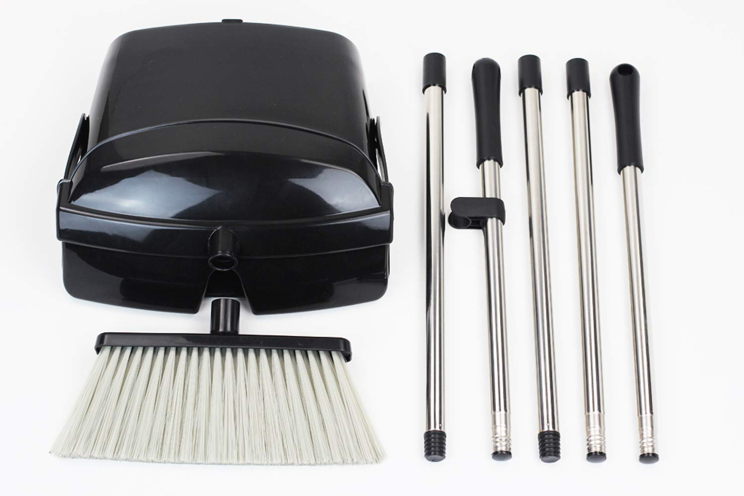 Broom and Dustpan Set, Commercial Long Handle Sweep Set and Lobby Broom,Upright Grips Sweep Set with Broom for Home, Kitchen, Room, Office and Lobby Floor Dust Pan & Broom Combo, Black