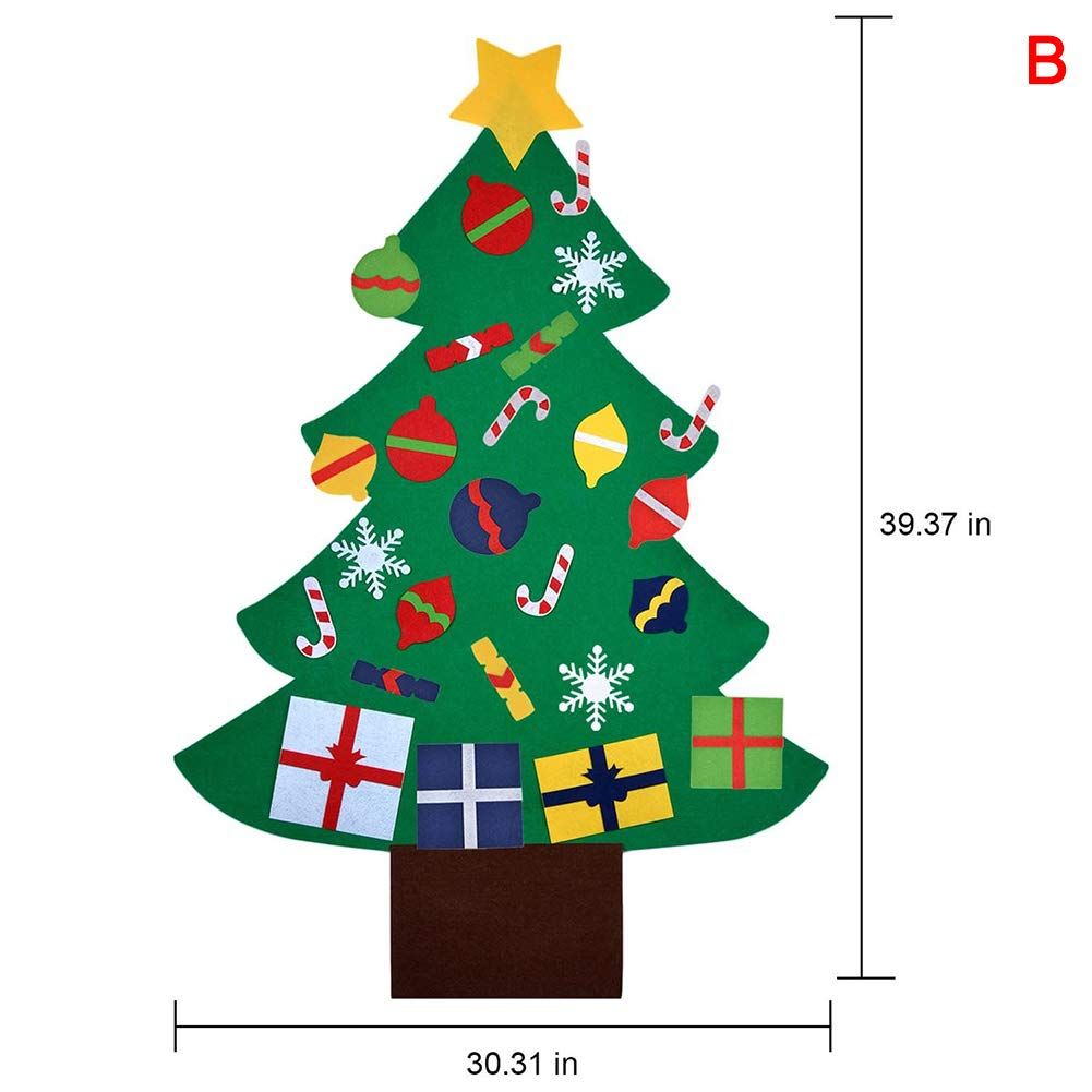 Christmas Tree Ornaments,RFT Felt Christmas Tree for Toddlers Christmas Ornament Crafts for Kids DIY Felt Christmas Tree Education Gift Wall Hanging Decoration for Children Kids.
