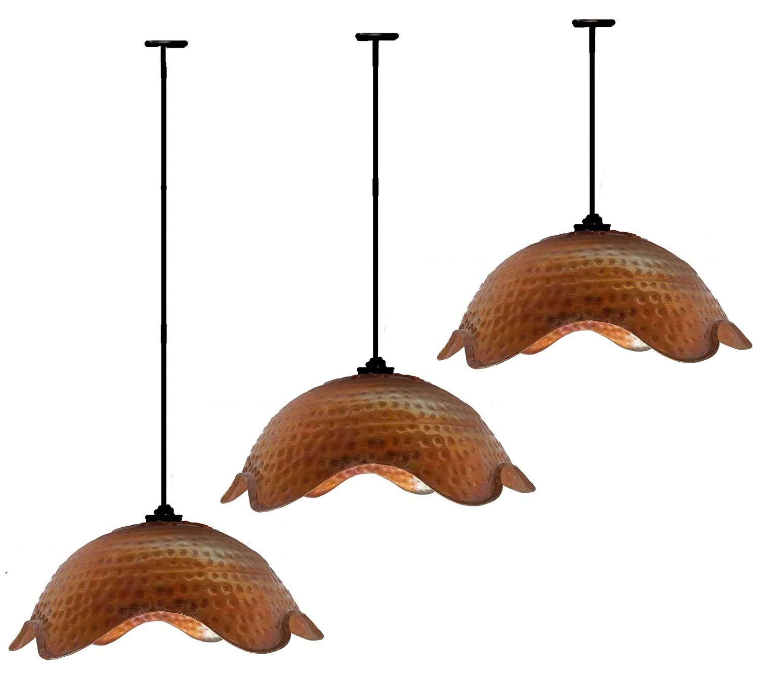 Amazon com egypt gift shops 3pc antique fire patina hand hammered kitchen bar hall pure natural copper lamp ceiling pendants shades light fixtures decor