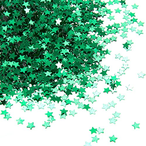 Star Confetti - 7-Ounce Metallic Glitter Confetti, Star Foil Sequin Embellishments for Balloons, Art and Crafts, Wedding Decor, Bachelorette Party Supplies, DIY Decorations, Green, 0.1 inch
