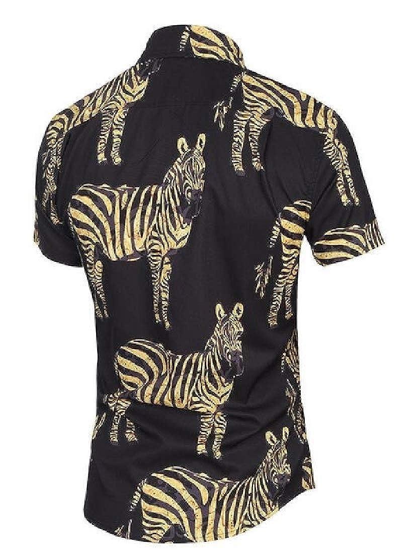 Jotebriyo Mens Button Up Casual Short Sleeve 3D Print Slim Shirts