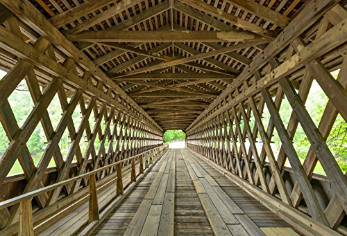 Baocicco Cotton Polyester Interior Old Wood Covered Bridge Background 5x4ft Wide Angle View Inside The Wooden Bridge Backdrops Century Park USA Decoration Wedding Lovers Adults Photo Portraits -