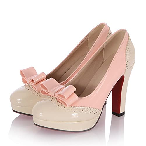 797d50dd8968 Summerwhisper Women s Sweet Bowknot Contrast Color Round Toe Platform Pumps Chunky  High Heel Patent Shoes Beige