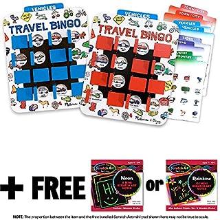 Melissa & Doug Flip to Win Travel Bingo Game & 1 Scratch Art Mini-Pad Bundle (02091)
