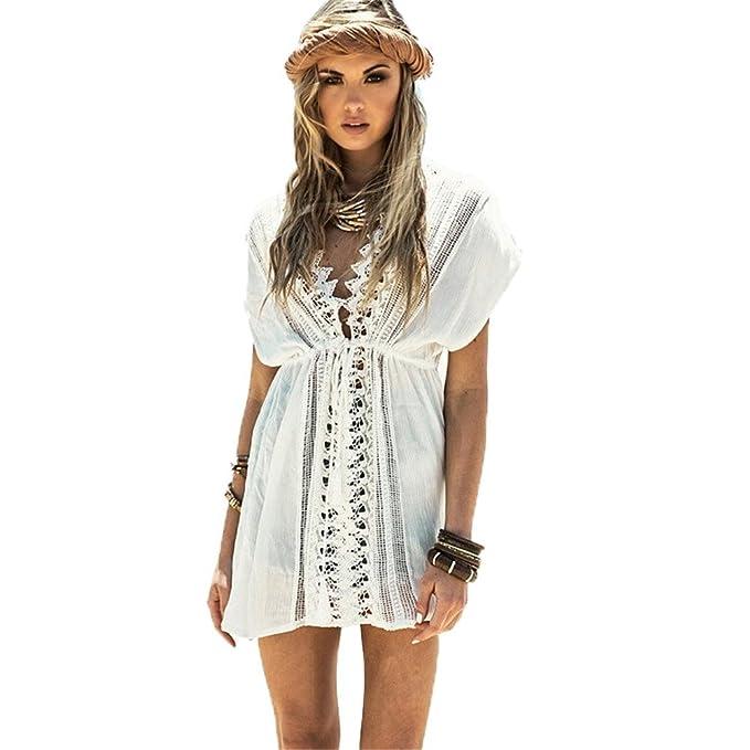 96d174b2f39c PIN Copricostume Donna Mare Pizzo Aperto Uncinetto Caftano Spiaggia Vestito  Bikini Cover Up Beachwear Costume da Bagno: Amazon.it: Abbigliamento