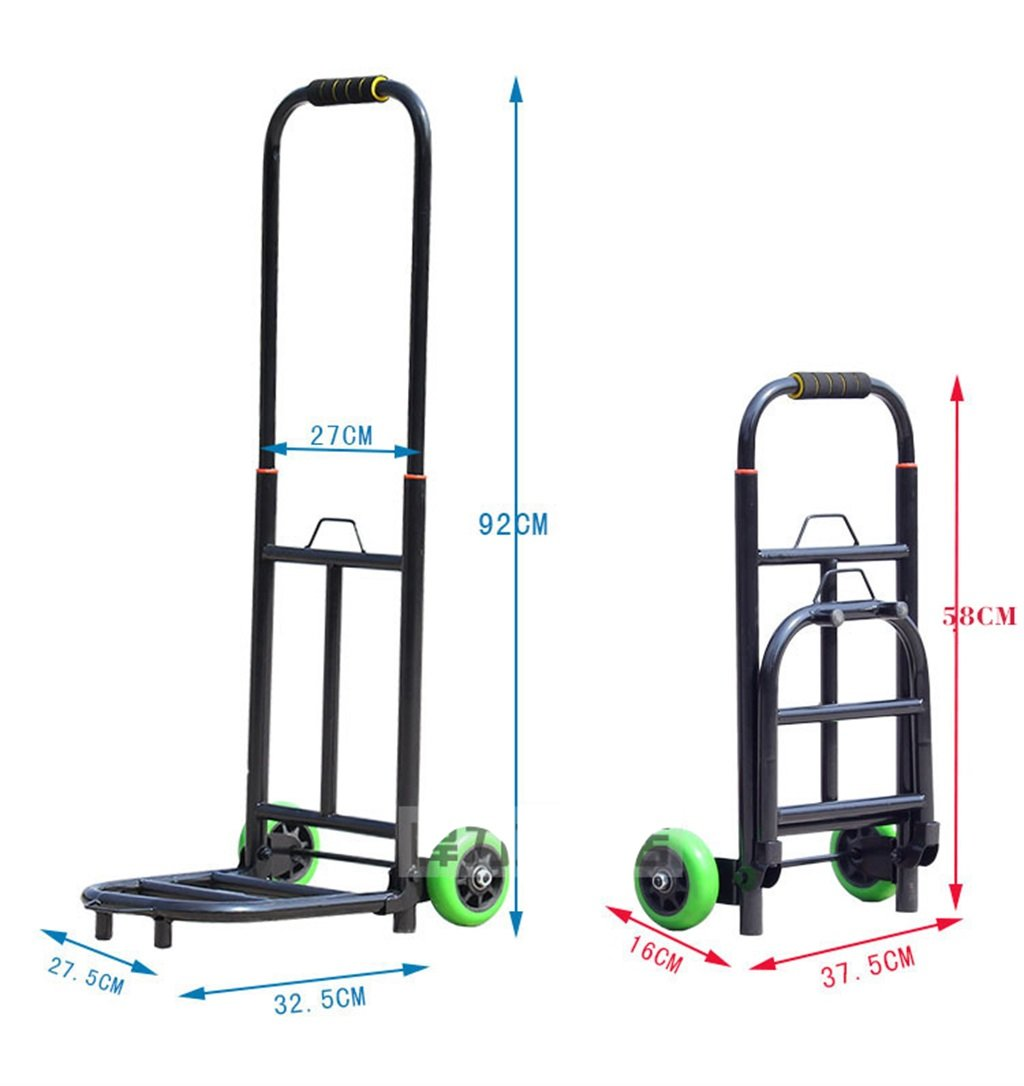 Color : Without Bag Hand Truck Trolley Telescopic Folding Portable Luggage Cart Double Bearing Wear-Resistant PU Wheel Trolley Carts Hand Drawn Shopping Cart Buy Vegetable Trailer Load 50 Kg ALUS