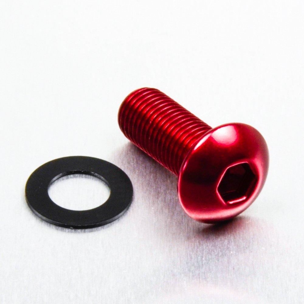 1.25mm Aluminium Dome Head Bolt M10 x x 25mm Red