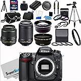 Nikon D7000 16.2MP DX-Format CMOS Sensor Digital SLR Camera (Black) Import Model with 18-55mm f/3.5-5.6G AF-S DX VR and 55-200mm f/4.5-5.6G ED VR AF-S DX NIKKOR Zoom Lenses + Wide Angle + Telephoto + Full 32GB Deluxe Accessory Bundle