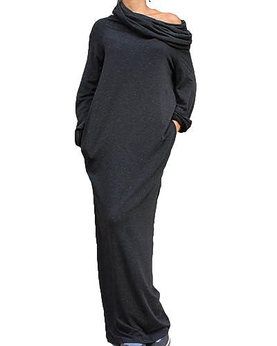 ZANZEA Women Plain Turtleneck Boat Neck Long Sleeve Party Kaftan Long Maxi Dress