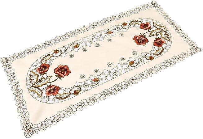 Rectangle Chemin de Table Nappe Brod/é Rouge Fleur Floral Creuse D/écoration Table /à Manger Coureur de Mariage H/ôtel Maison