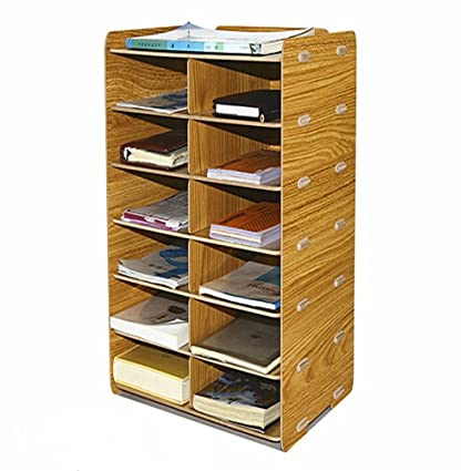 Charming DIY Desk Wooden File Cabinet Storage Box A4 Size Paper Manager 7 Layers File  Holder Magazine