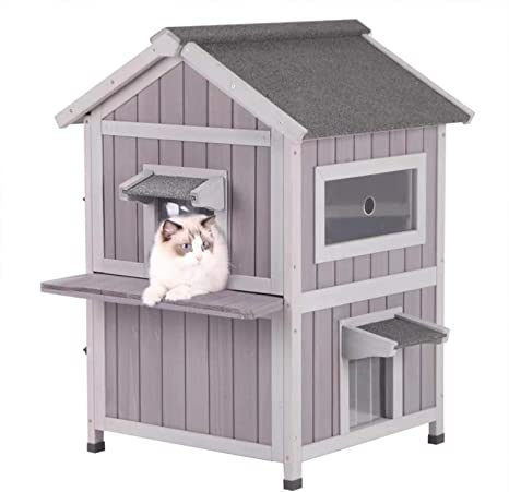 Aivituvin Cat House Outdoor Cat Shelter Weatherproof 2 Story Kitty House Rainproof Cat Condo For Outside Escape Door Pet Supplies