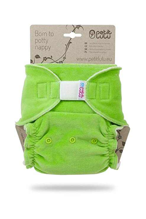 Reusable /& Washable Made in Europe Petit Lulu Bamboo Fitted Maxi-Night Diaper Snaps Velour Yellow