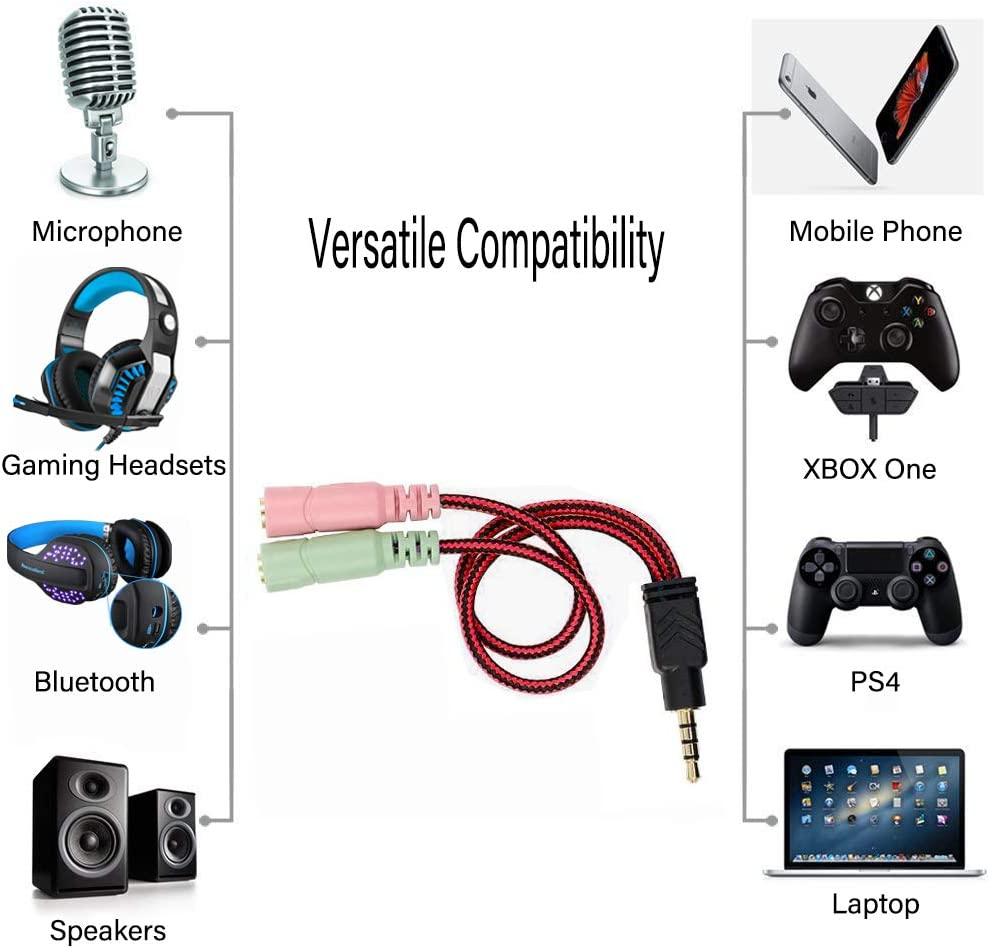 PS4 Y Splitter Audio 2 Female to 1 Male 3.5mm Jack Cable Professional Gaming Headphones USB Adapter Kit Mutual Convertors for Laptop Xbox One Tablet and Over-Ear Headset Mac Smartphone