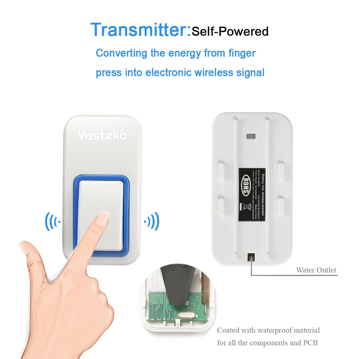 Vasteko Wireless Doorbell Kits No Battery Required For Both Intercom Home Additionally Led Flashlight Circuit Diagram Transmitter And Receiver Ipx7 Waterproof Push Button 3 Level Volume 25 Ring Tunes White