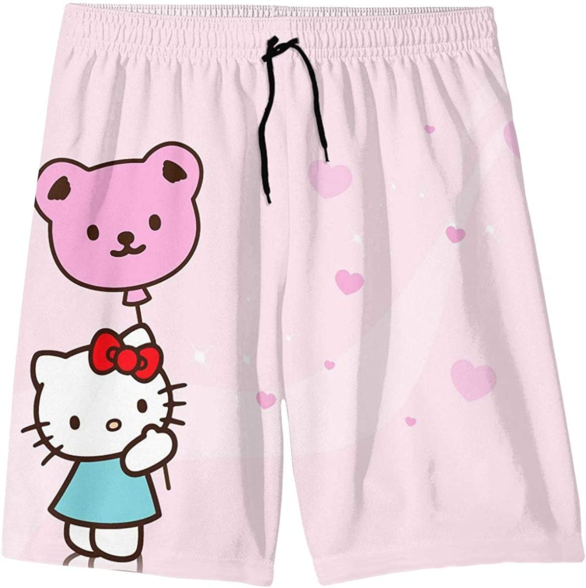 Swim Trunks Hello Kitty with Balloon Quick Dry Beach Board Shorts Bathing Suit with Side Pockets for Teen Boys