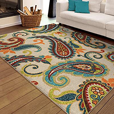 """Contemporary Style Latex Free Floral Pattern Rectangle Indoor/Outdoor Paisley Pampano Multi Area Rug (7'8"""" X 10'10""""). Quality And Beauty Stain Resistant Area Rug"""