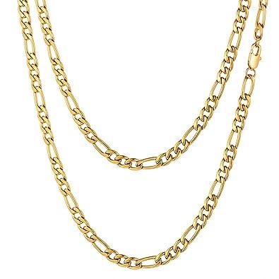 FOCALOOK Collar Hombre 3+1 Fígaro Cadena 5mm Cadena Básica de Acero Inoxidable Bañado en Oro/Oro Rosado/Negro 45-70cm Opcional con Caja de Regalo