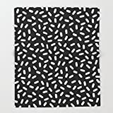 Society6 Bingo - black and white sprinkle retro modern pattern print monochromatic trendy hipster 80s style Throw Blankets 88'' x 104'' Blanket