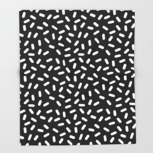 Society6 Bingo - black and white sprinkle retro modern pattern print monochromatic trendy hipster 80s style Throw Blankets 88'' x 104'' Blanket by Society6