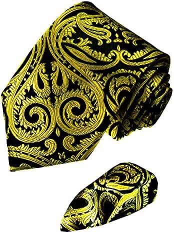 LORENZO CANA Italian 100% Silk Tie Hanky Set Yellow Gold Black Paisley 8444801