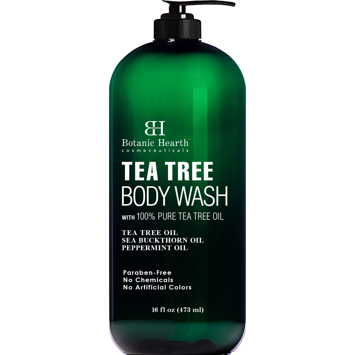 BOTANIC HEARTH Tea Tree Body Wash, Helps Nail Fungus, Athletes Foot, Ringworms, Jock Itch, Acne, Eczema & Body Odor, Soothes Itching & Promotes Healthy Skin and Feet, Naturally Scented, 16 fl oz by Botanic Hearth