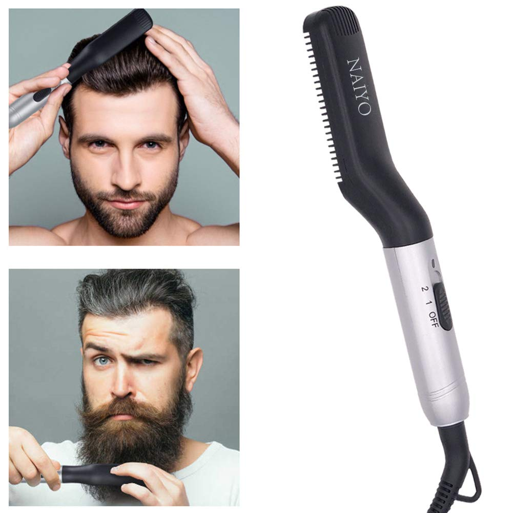 NAIYO Beard Straightener Brush, Electric Beard Straightener and Hair Straightener, Multifunctional Beard and Hair Straightening Brush Comb for man, Heat Beard Straightener and Hair Straightener Brush by NAIYO