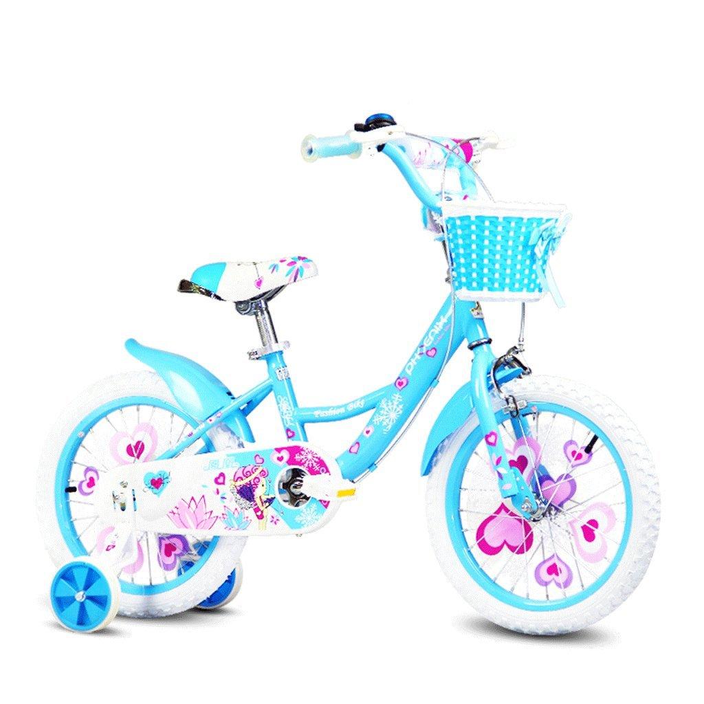 子供用自転車14インチガールサイクリング3-6赤ちゃん用自転車ハイカーボンスチールベビーカー、ピンク/グリーン/ブルー (Color : Blue) B07CZYCG5P