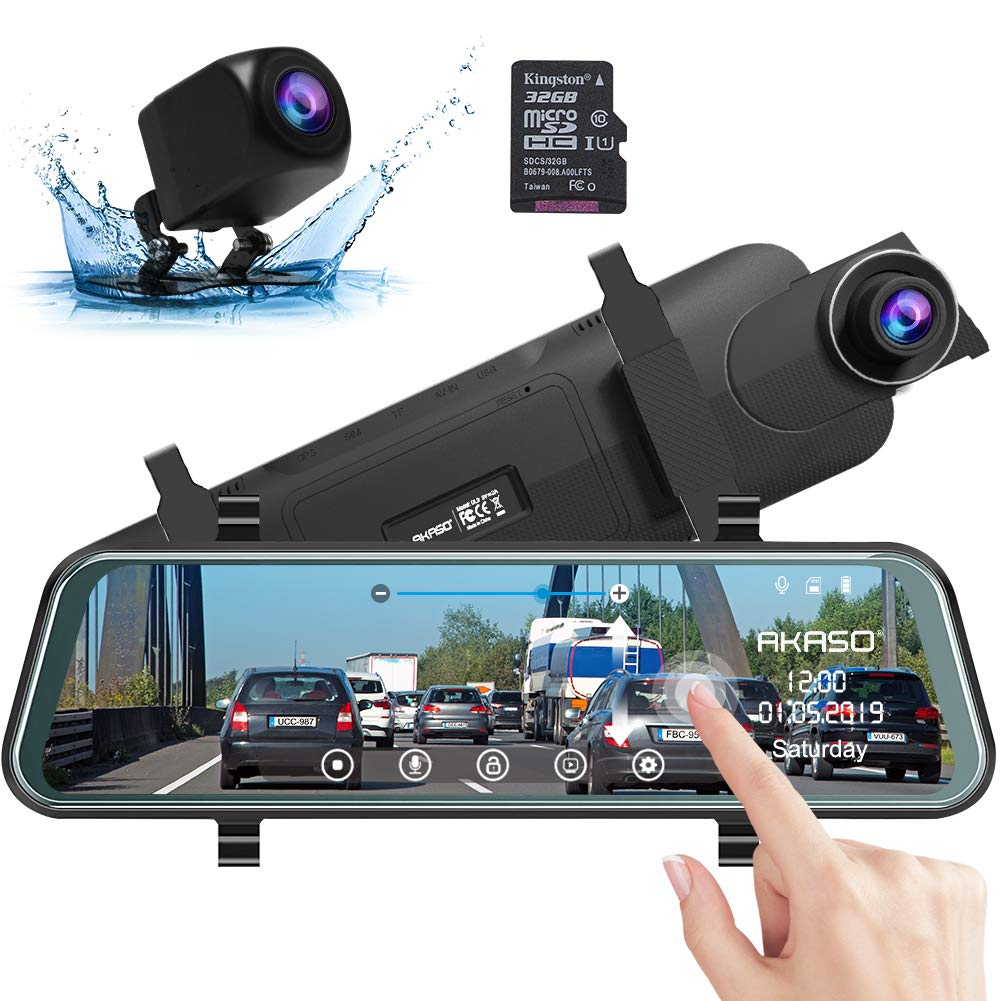 Mirror Dash Camera for Cars - AKASO Backup Camera Dual Dash Cam 10'' Stream Media Touch Screen DVR with 32GB Card 1080P Front and Rear Reversing Image G-Sensor Parking Monitor (DL9) by AKASO (Image #1)
