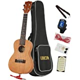 """UBETA UC-031EQ Concert 23"""" Electric Ukulele Beginner Ukulele Hawaiian Guitar with Italy Aquila strings 7 in 1 Kit: Gig bag, clip-on Tuner, Picks. Spare Aquila Strings,Electric line and Strap - Natural Colour (Concert 23"""" EQ)"""