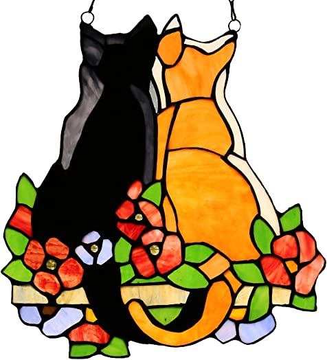 River of Goods Cat Lover 12.5 Inch High Stained Glass Suncatcher Window Panel, Black, Yellow, Red